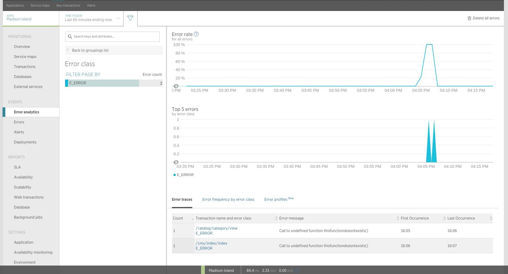 New Relic APM - Error analytics